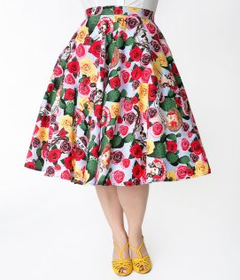 Hell Bunny Vintage Floral Swing Skirt