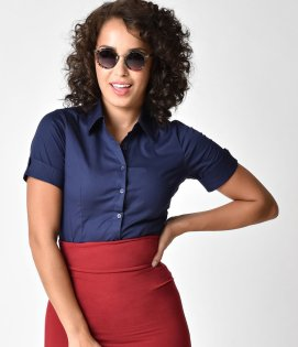 Retro_Style_Navy_Blue_Short_Sleeve_Collared_Button_Up_Blouse