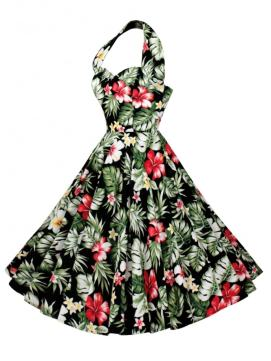 1950s Halter Neck Swing Dress in Hawaiian print