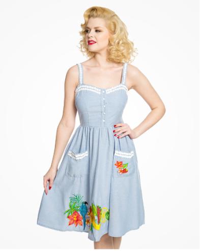 Blue Chambray Tropical Swing Dress