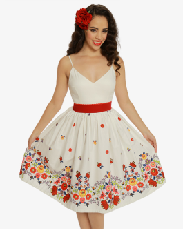 Honor White Floral Border Swing Dress