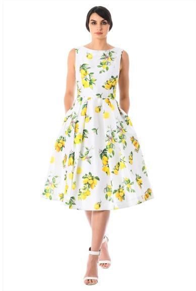 Lemon Print Dupioni Midi Dress