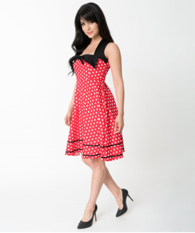 Red & White Polka Dot Cotton Dress