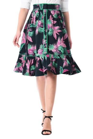 Tropical Pineapple Print Contrast Cotton Skirt