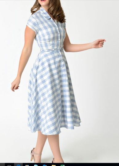 Unique Vintage Light Blue and White Gingham Alexis Swing Dress